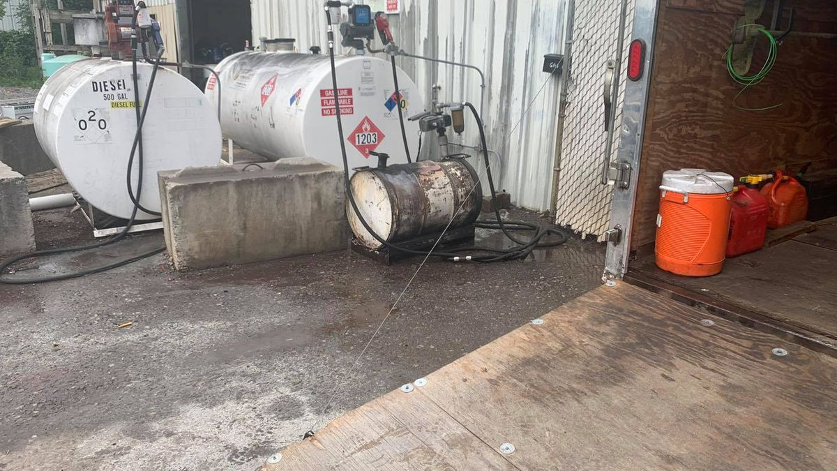 Roanoke Fire-EMS responded to reports of a burning 55-gallon gasoline tank