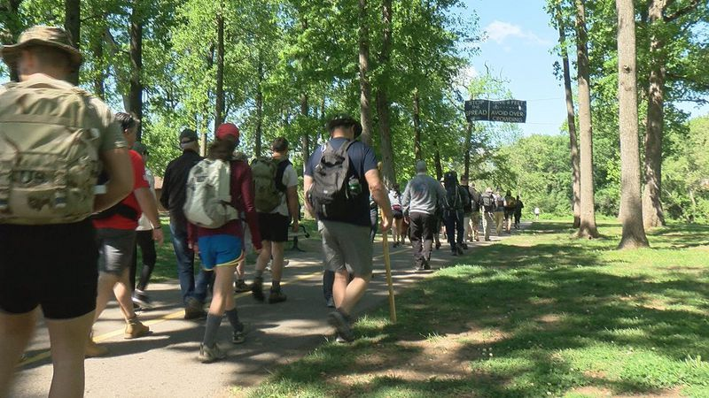 The veterans marched for 14 miles, starting in Wasena Park.