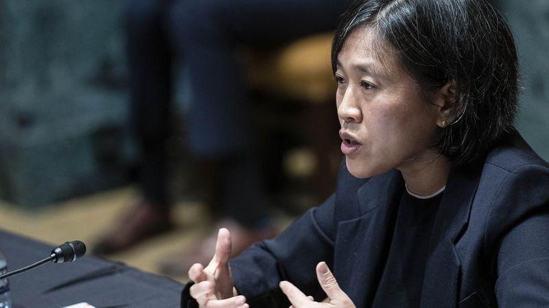FILE - In this April 28, 2021, file photo, U.S. Trade Representative Katherine Tai testifies...