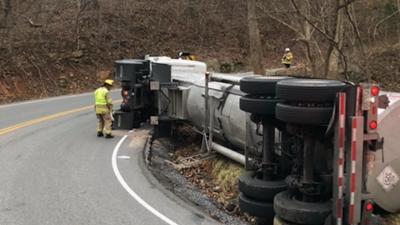 Portions of Jae Valley Road/116 are closed due to an overturned tanker.