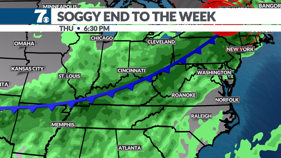 Heavy showers and storms likely late in the week thanks to an approaching front.