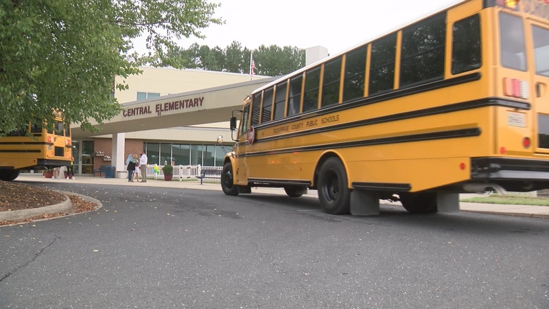 Buses bring students to the first day of school at Rockbridge County's Central Elementary School.