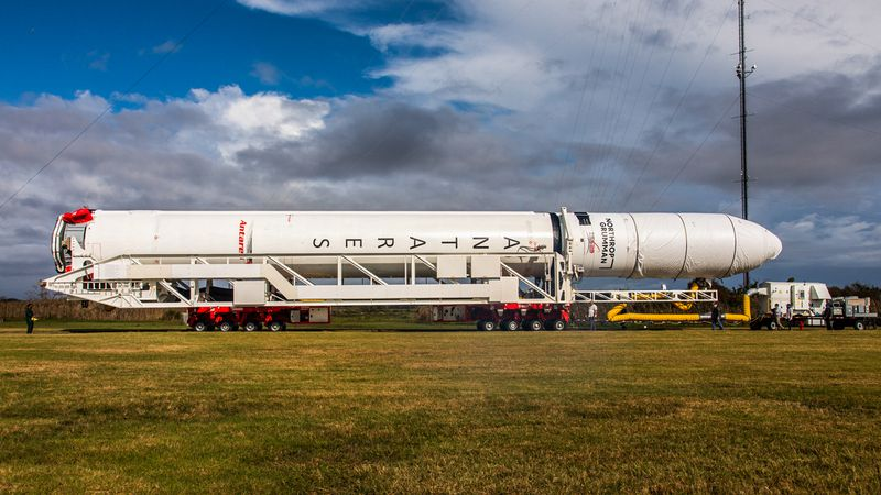 A Northrop Grumman Antares rocket carrying a Cygnus resupply spacecraft is seen as it is...