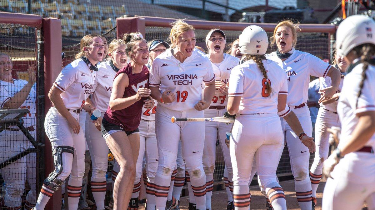 The Virginia Tech softball team celebrates during Saturday's game vs. BYU