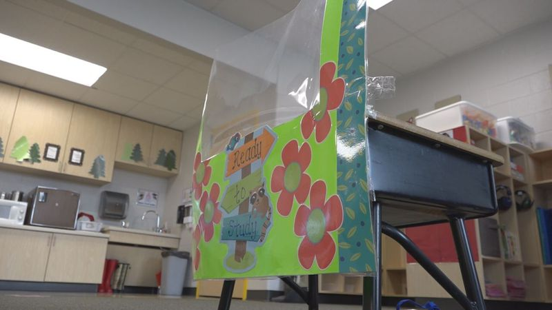 Screen protectant put in place at a students desk in Rockingham County.