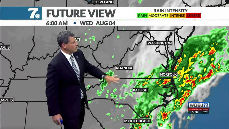 Rain chances return Tuesday with the most likely spot for steadier rain along the VA/NC border.