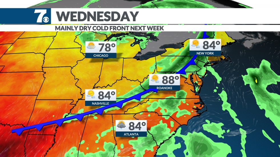 A cold front will trigger a few thunderstorms on Wednesday.
