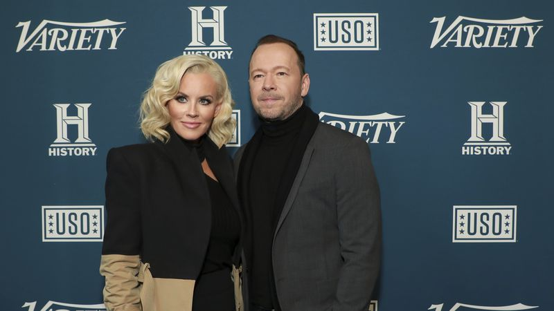 Jenny McCarthy, left, and Donnie Wahlberg in New York on Wednesday, Nov. 6, 2019.