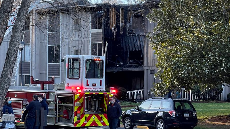 Damage at Pebble Creek Apartment complex