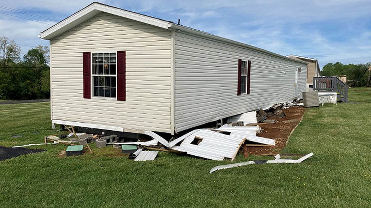 Trailer torn loose from foundation during severe weather in Bedford County