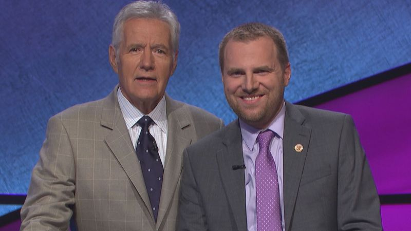 Craig Tollin met Trebek while competing on Jeopardy! in August 2017.