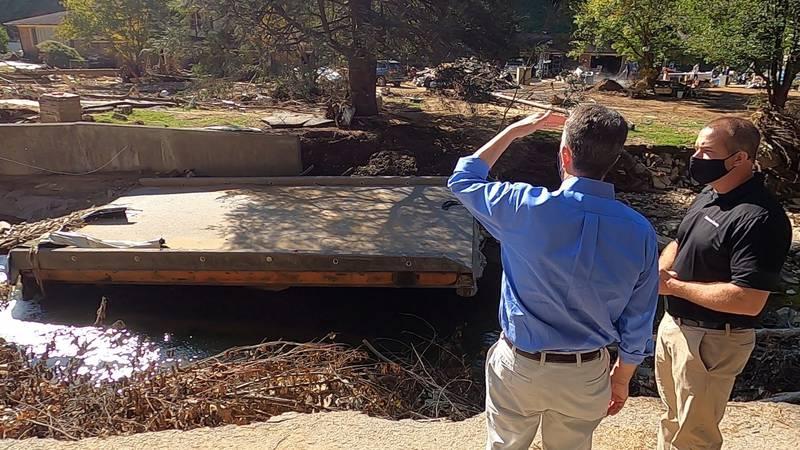 Virginia Gov. Ralph Northam visited Buchanan Co. Friday to survey flood damage and thank those...