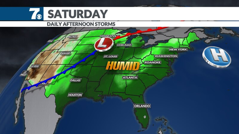 We'll feel humidity levels on the increase this weekend.