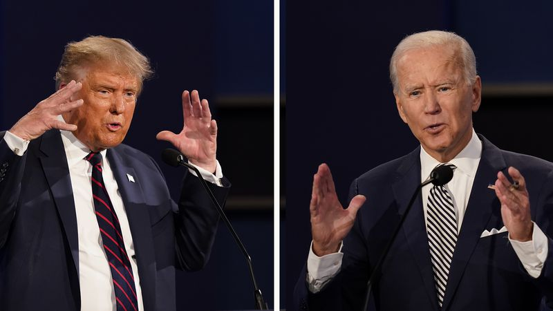 President Donald Trump, left, and former Vice President Joe Biden during the first presidential...