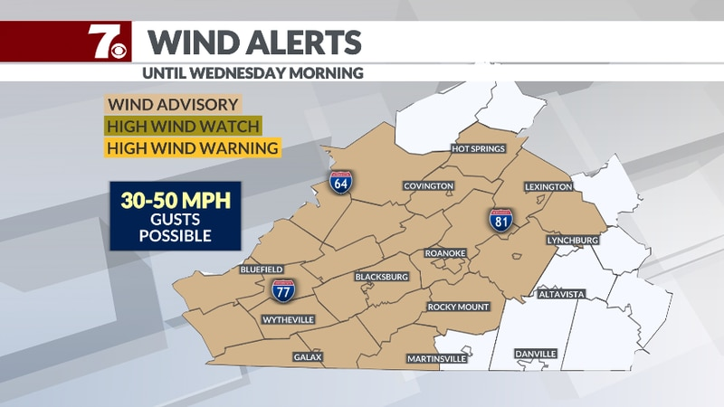 Strong winds return Tuesday and Wednesday with gusts 30-50mph.