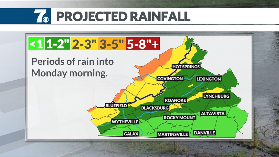 Potential rainfall through Monday morning.