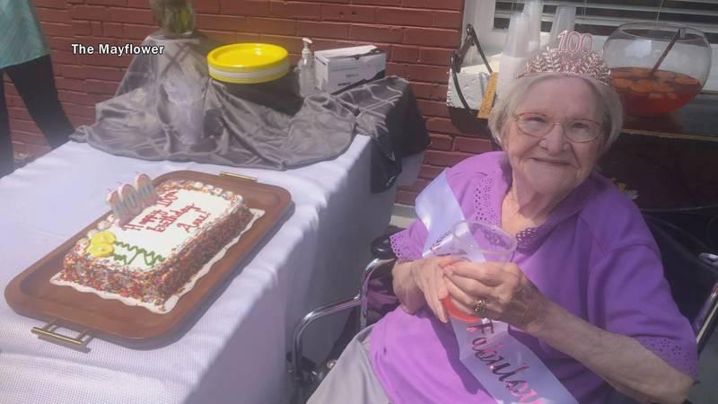 Anne Durr gets ready to enjoy her birthday cake Sunday.