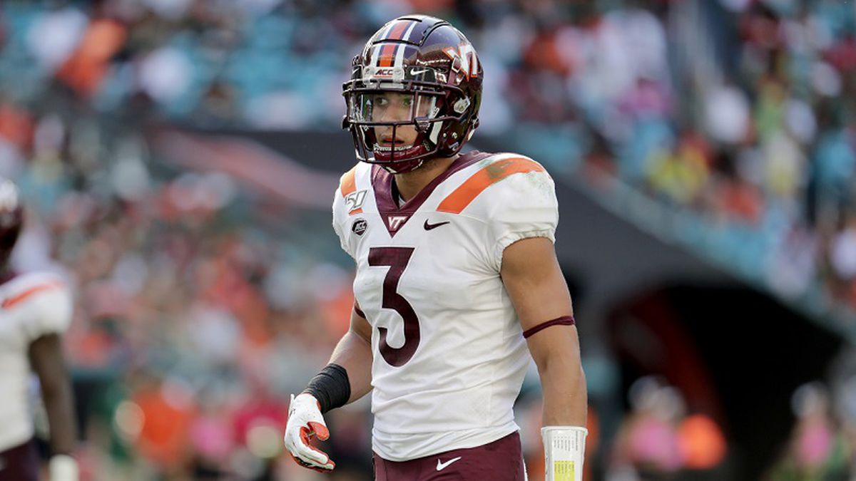 Virginia Tech defensive back Caleb Farley (3) lines up during the first half of an NCAA college...