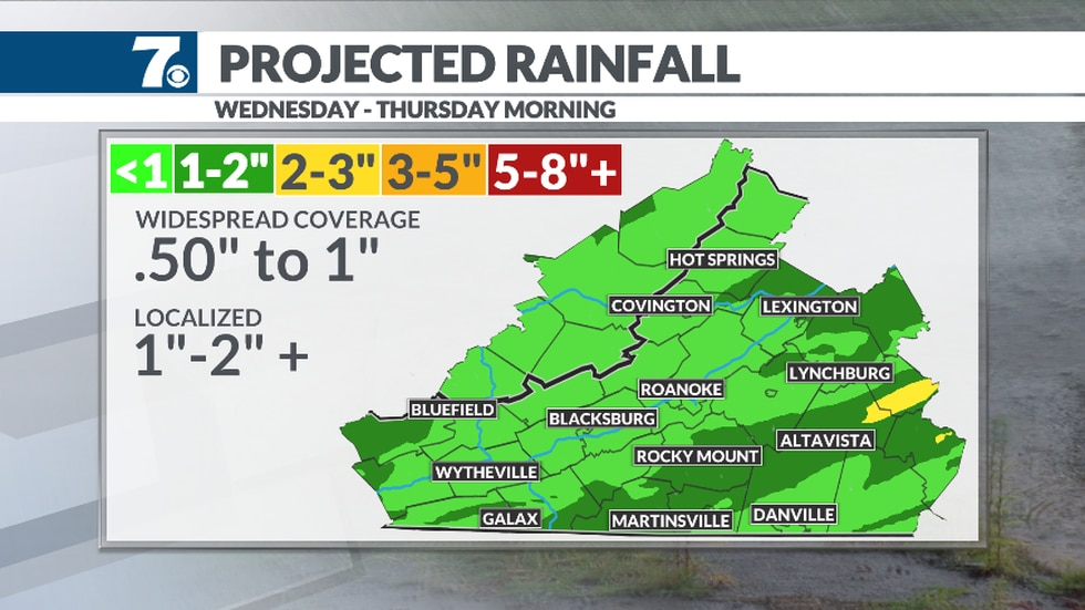 Heavy rain is likely as our next front moves through on Wednesday.