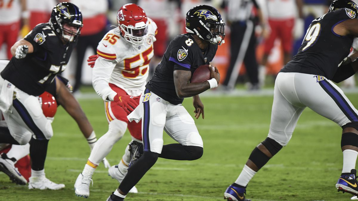 Baltimore Ravens quarterback Lamar Jackson (8) runs the ball during the first half on an NFL football game against the Kansas City Chiefs, Monday, Sept. 28, 2020, in Baltimore. (AP Photo/Terrance Williams)