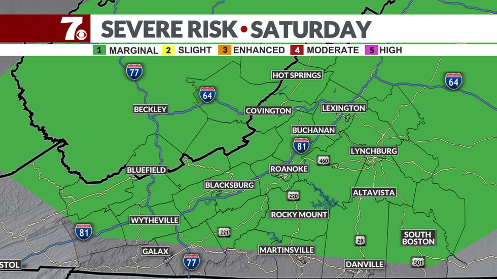 The Storm Prediction Center has placed most of our area under a Marginal Risk of severe storms...