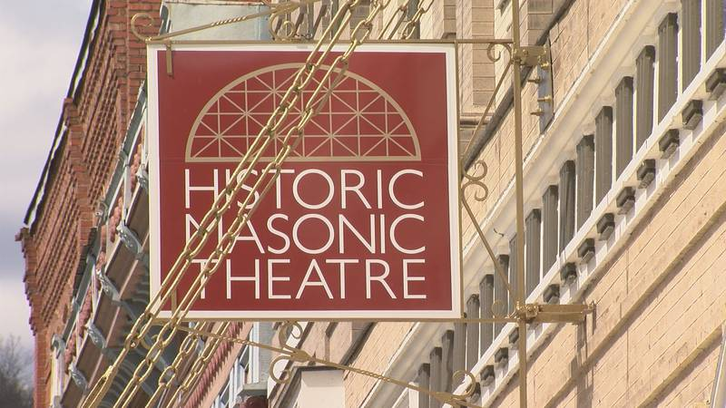 The sign on the Historic Masonic Theatre.