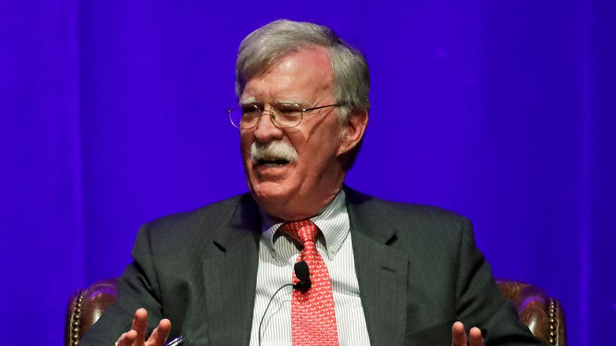 In this Feb. 19, 2020, file photo, former national security adviser John Bolton takes part in a discussion on global leadership at Vanderbilt University in Nashville, Tenn. (Source: AP Photo/Mark Humphrey/AP)
