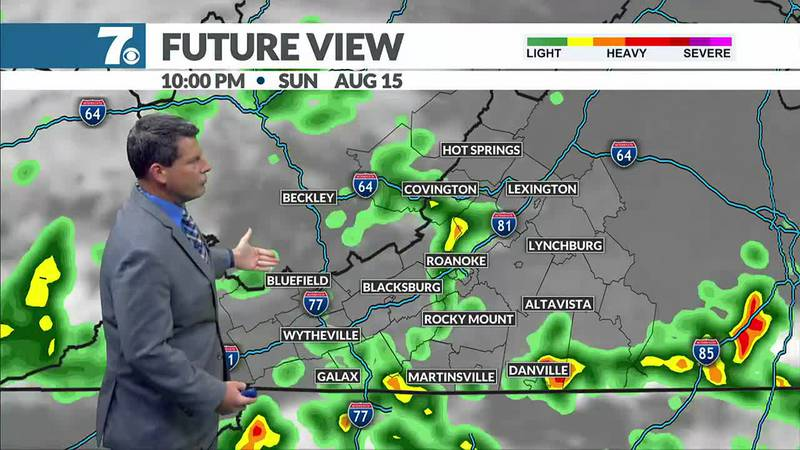 Plan for a much cooler afternoon Sunday along with scattered storms.