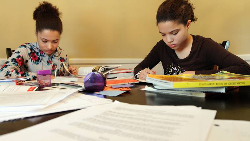In this photo Friday, Feb. 26, 2010, Thirteen year-old Louisa Perry-Farr, left, works on her...