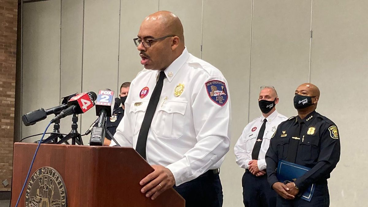 Southfield, Mich., Fire Chief Johnny Menifee holds a news conference on Wednesday, Aug. 26,...