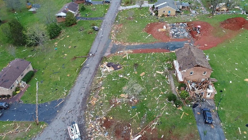 2018 drone footage shows the destruction a tornado left behind in Amherst County.