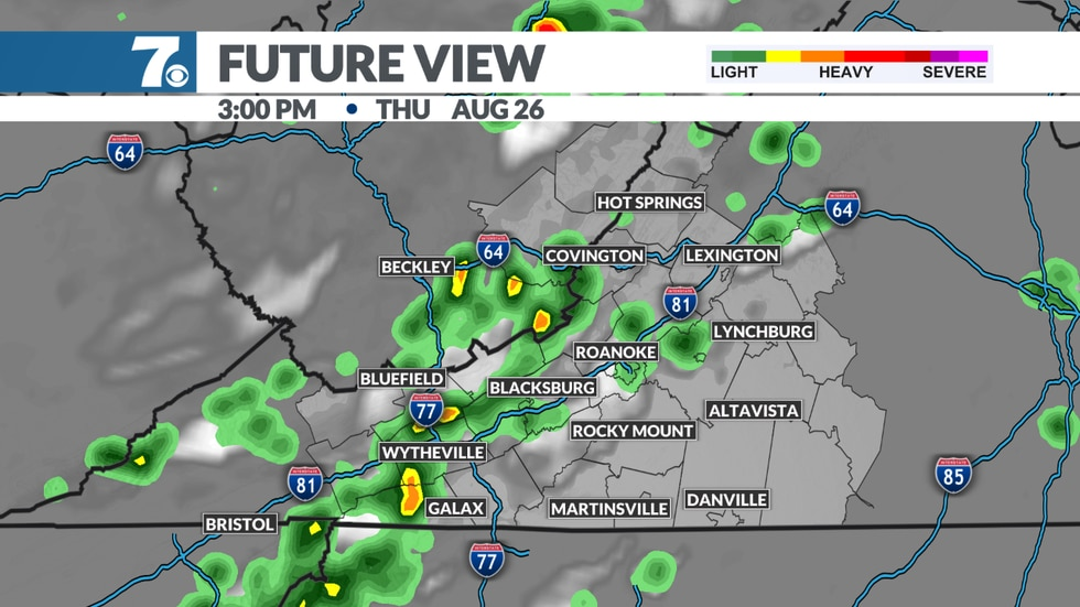 Scattered showers and storms are possible again during the afternoon and early evening.