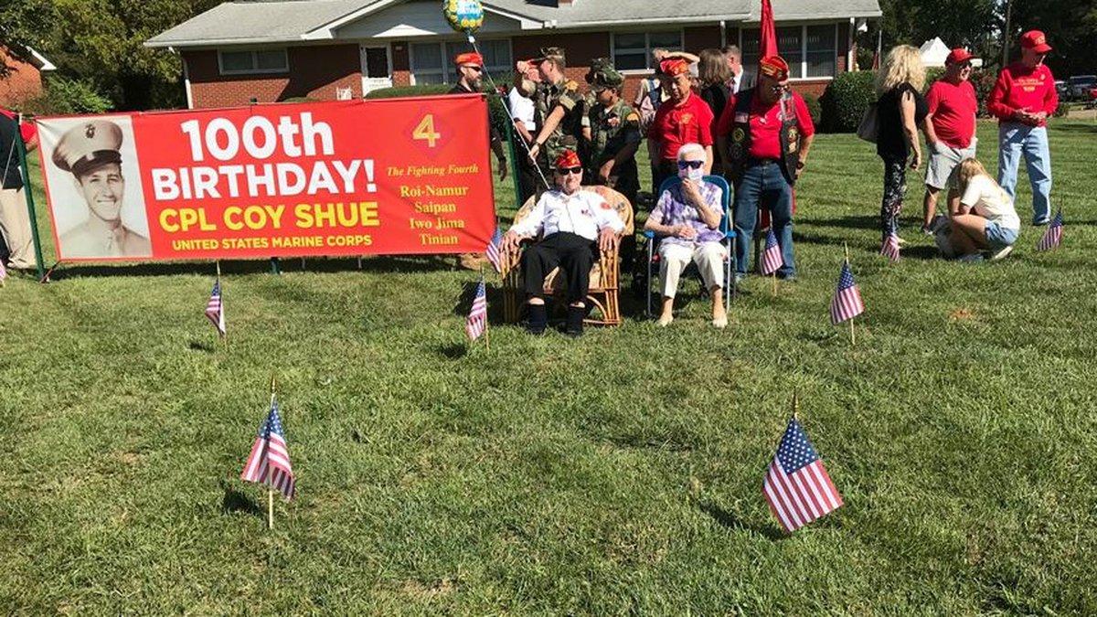 U.S. Marine veteran celebrates 100th birthday