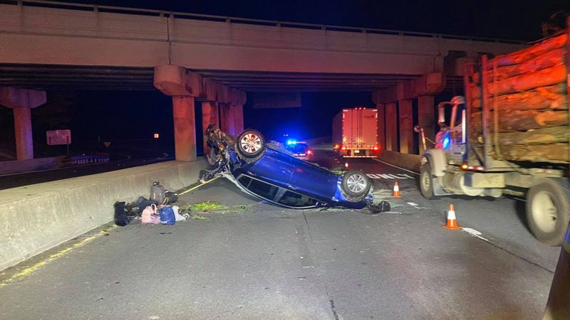 The car crashed over the side of an I-81 overpass.
