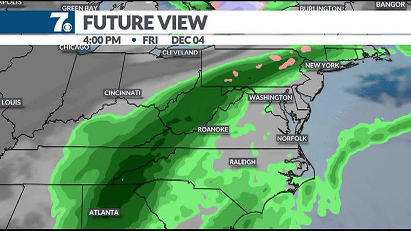 Rain moves back into the region later Friday.