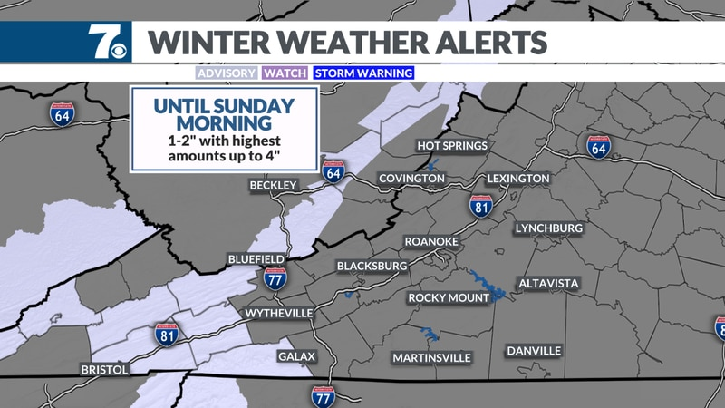Winter Weather Advisories continue into Sunday morning.