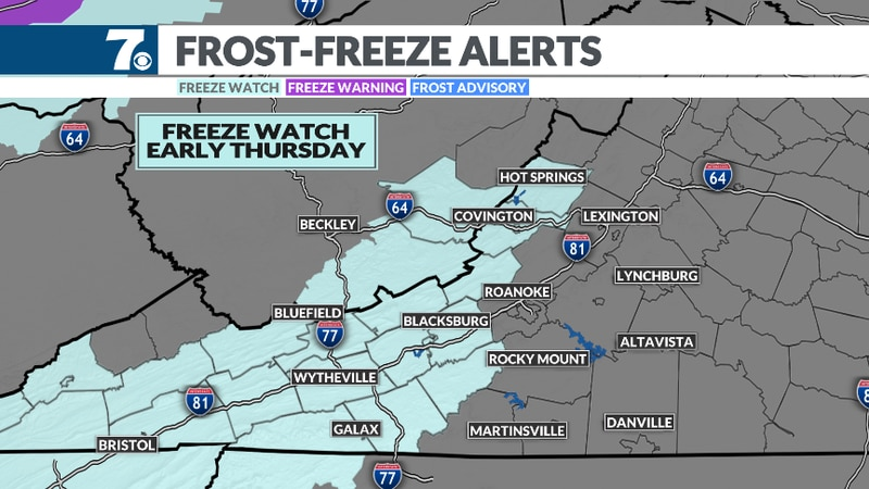 The National Weather Service has issued a Freeze Watch for early Thursday.