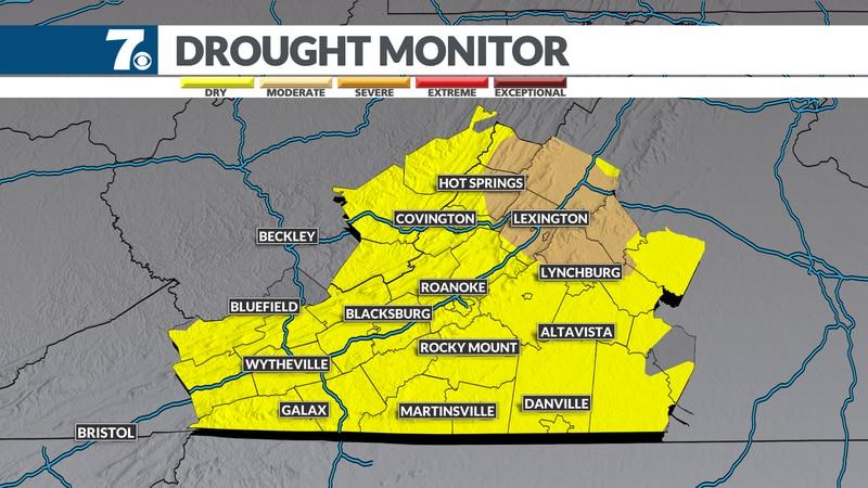 The drought expands as rain chances remain limited.