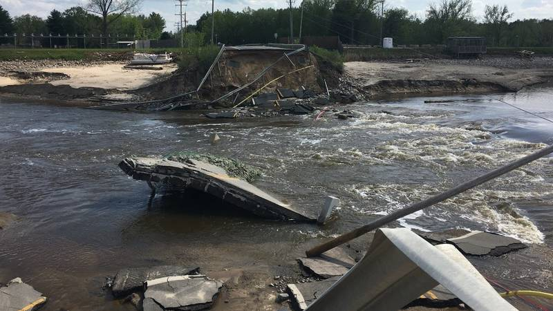 Record-breaking floods heavily damaged the M-30 bridge over the Tobacco River in Gladwin County.
