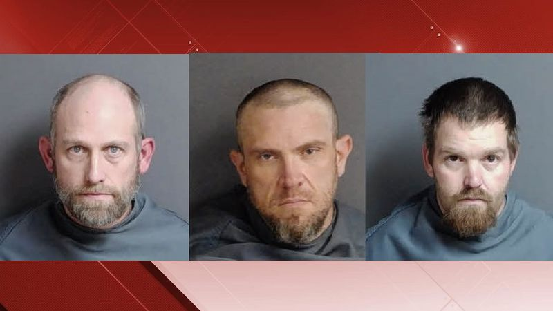(L-R) Bryan Gillespie, John Altice, Samuel Diaz, arrested for theft of Franklin County 4H truck