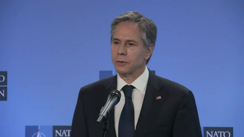 Secy Antony Blinken and NATO Secretary General Jens Stoltenberg make remarks in Brussels at the...