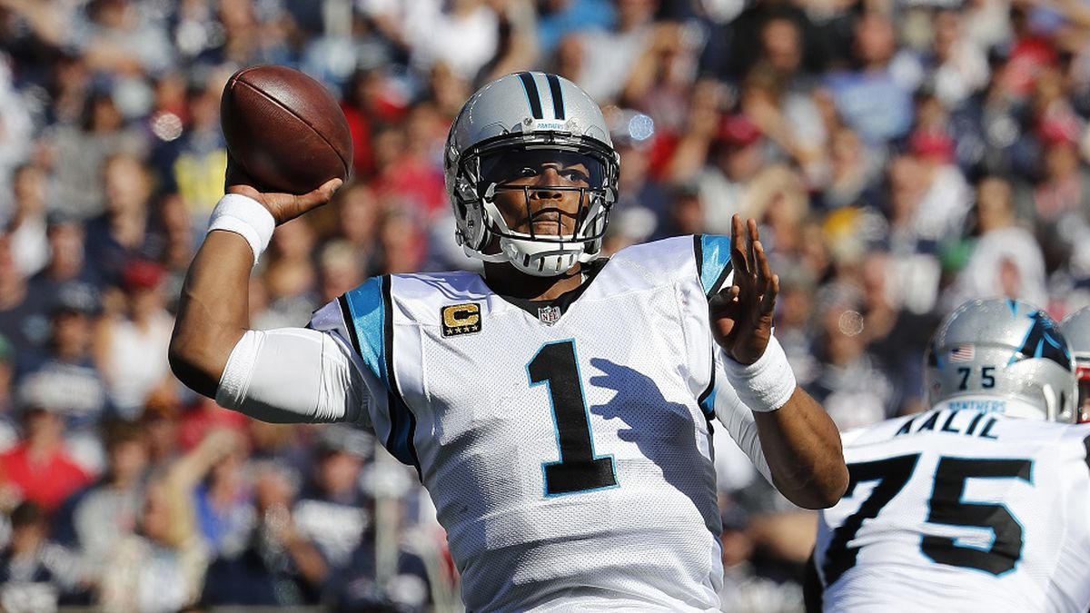 Carolina Panthers quarterback Cam Newton throws during an NFL football game against the New England Patriots at Gillette Stadium in Foxborough, Mass. Sunday, Oct. 1, 2017. (Winslow Townson/AP Images for Panini)