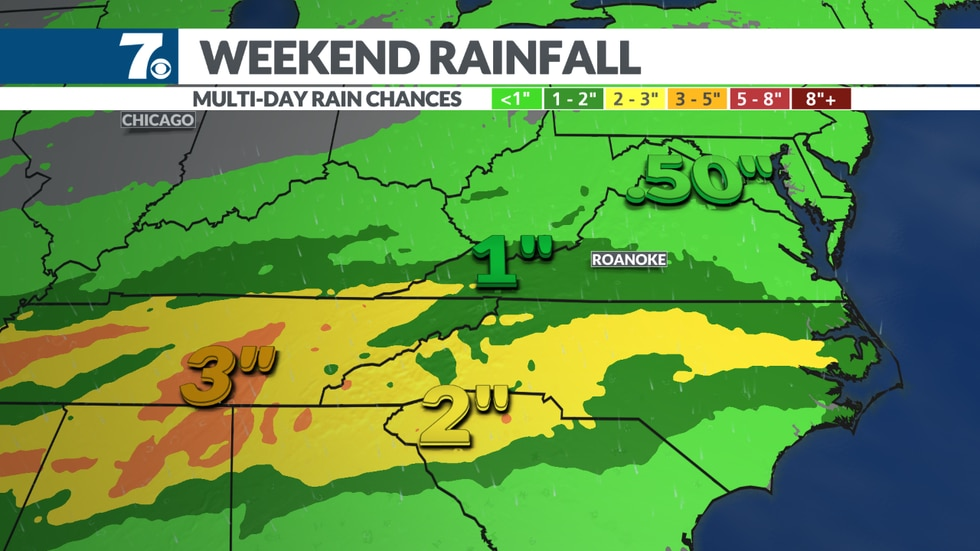 """Rain totals through the weekend will generally be in the .50"""" to 1"""" mark."""