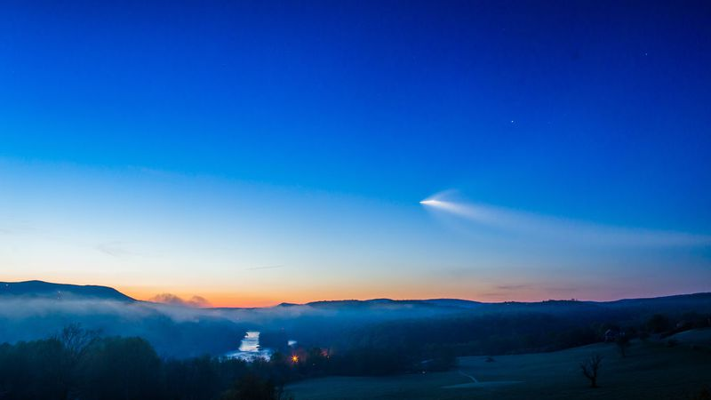 Vapor trail seen over the New River in Giles County on Friday morning.