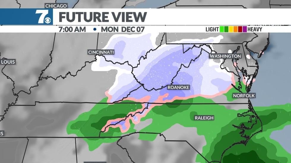 Potential light snow Monday morning.