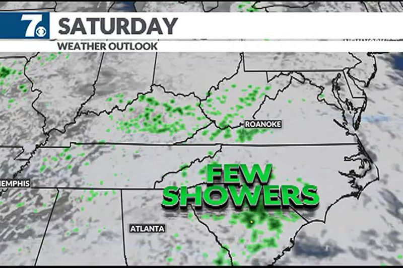 A few stray showers move through the area Saturday afternoon.