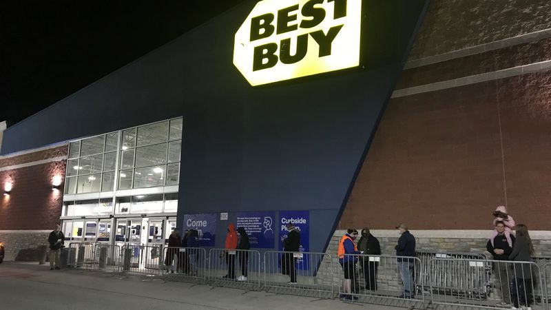 Black Friday shoppers wait in line at Best Buy in Christiansburg for doors to open.