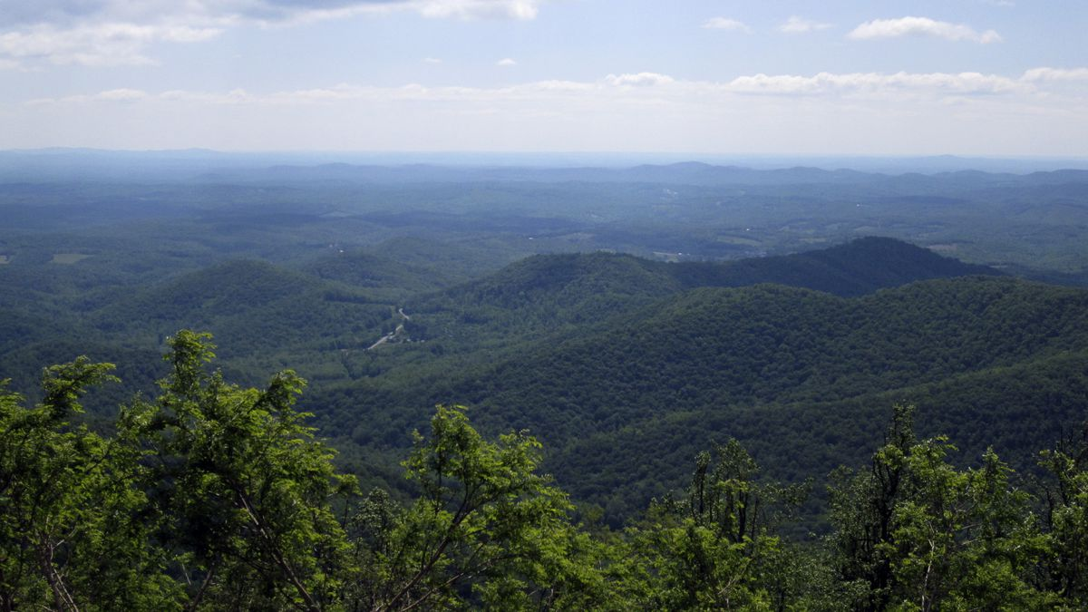 This Wednesday, May 9, 2010 photo shows the view from an overlook along the Blue Ridge Parkway...