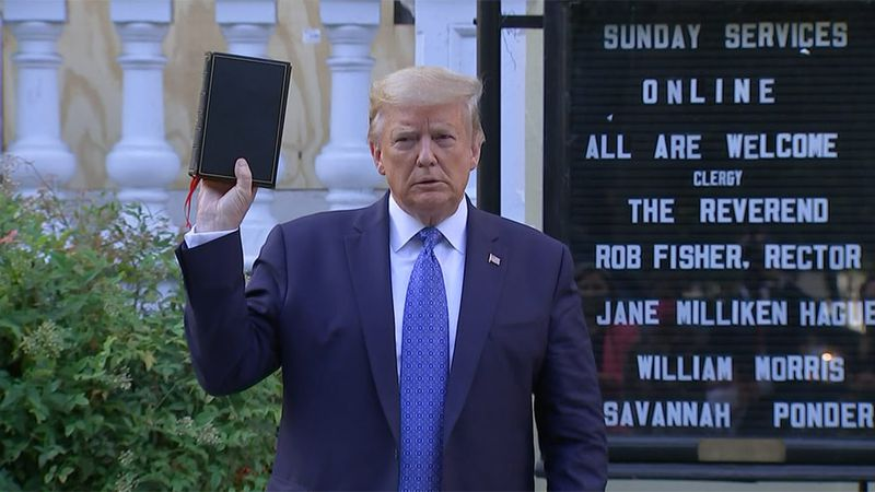 Then-President Donald Trump walked to a nearby church last June to take a photo after...