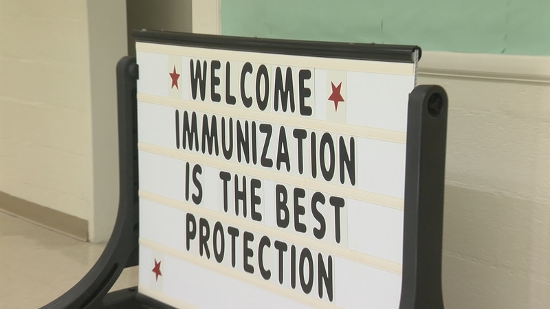 Parents were welcomed with a sign inside the Alleghany/Covington Health Department in Covington.